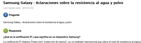 Samsung |IP67 | aclaraciones sobre la resistencia al agua