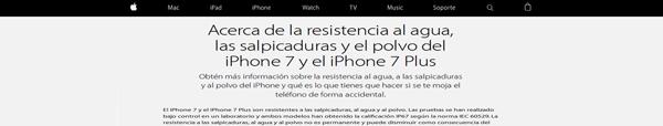 apple | iPhone7 | acerca de la resistencia al agua